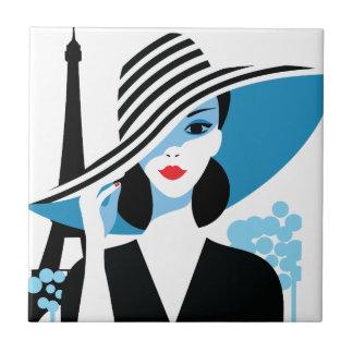 Illustration chic de mode élégante française de carreau