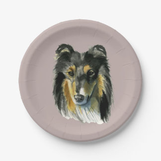 Illustration d'aquarelle de chien de colley assiettes en papier
