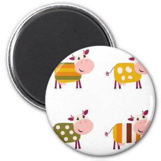 Illustration d'art de vaches à enfants sur le magnet rond 8 cm