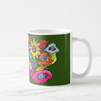 Illustration de bande dessinée des fleurs, sur une mug