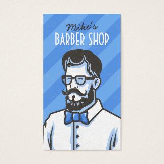 Illustration de coiffeur de rayures bleues de cartes de visite