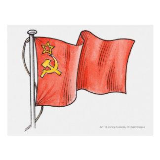 Illustration de drapeau soviétique carte postale