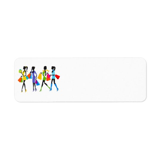 Illustration de filles d'achats de mode étiquettes d'adresse retour