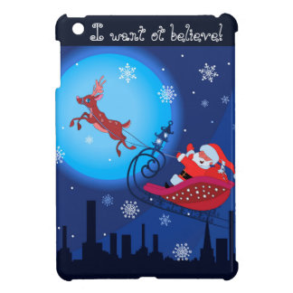 Illustration drôle de Noël. Père Noël avec Rudolf Étui iPad Mini