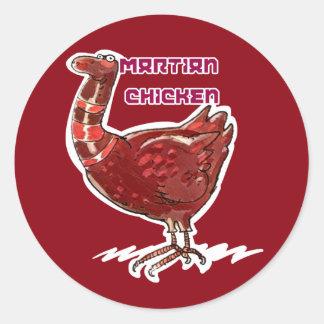 illustration drôle de poulet de style martien de sticker rond