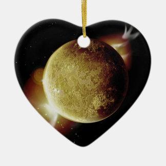 illustration jaune de la planète 3d en univers ornement cœur en céramique