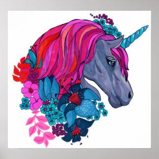 Illustration magique violette mignonne poster
