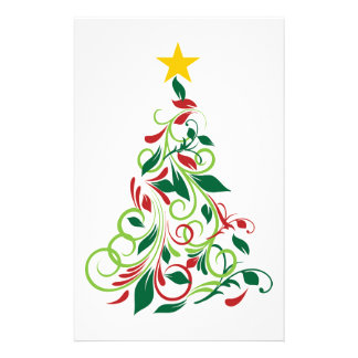 Illustration moderne élégante d'arbre de Noël Papier À Lettre Customisé
