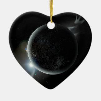 illustration noire de la planète 3d dans l'univers ornement cœur en céramique