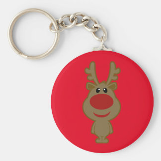 Illustration rouge vintage mignonne de renne porte-clé rond