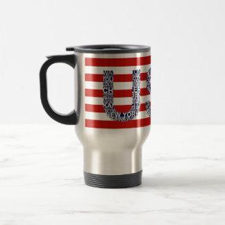 Illustration typographique avec le texte mug de voyage en acier inoxydable