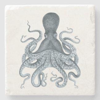 Illustration vintage de poulpe de bleu marine dessous-de-verre en pierre