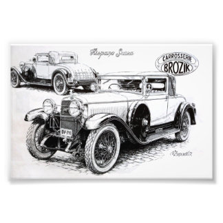Illustration vintage de voiture  tirage photo