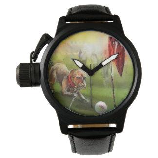 Image de golf de chien sur une montre en cuir