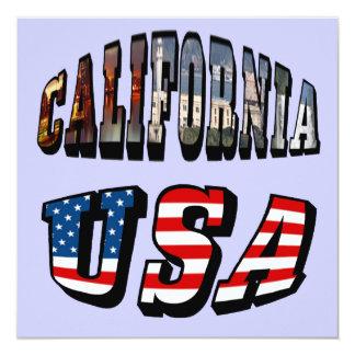 Image de la Californie et texte de drapeau des Carton D'invitation 13,33 Cm