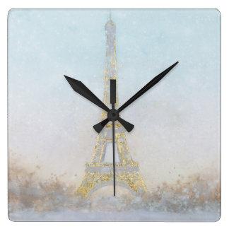 Image de l'aquarelle | d'Eiffel Towe Horloge Carrée