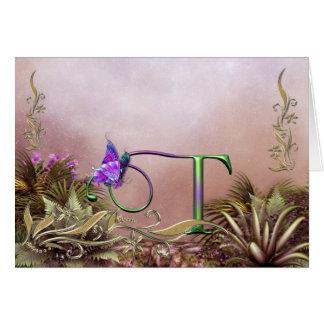 Imaginaire T de papillon de carte de monogramme