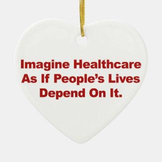 Imaginez les vies des personnes de soins de santé ornement cœur en céramique
