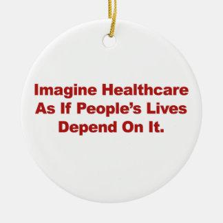 Imaginez les vies des personnes de soins de santé ornement rond en céramique