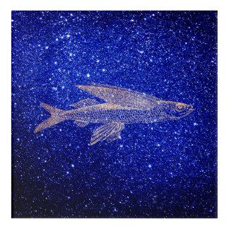 Impression En Acrylique La marine bleue de mer d'océan de poissons de vol