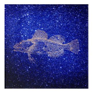 Impression En Acrylique L'or rose de marine bleue profonde de poissons de
