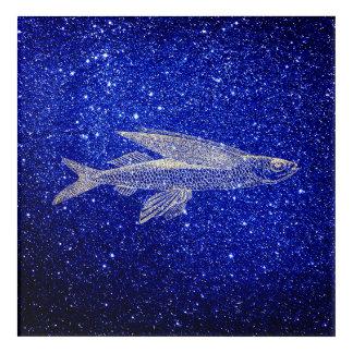 Impression En Acrylique Marine bleue de mer d'océan de poissons de vol de