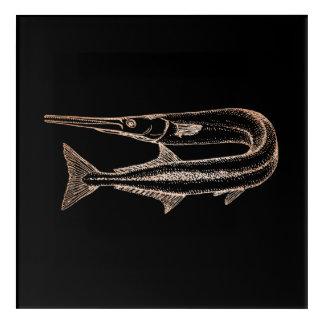 Impression En Acrylique Rose de noir d'Animials de l'eau de la vie d'océan