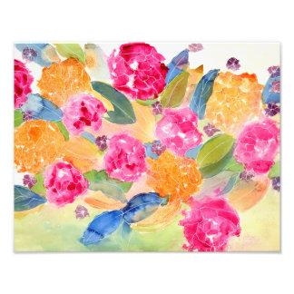 Impression florale d'aquarelle