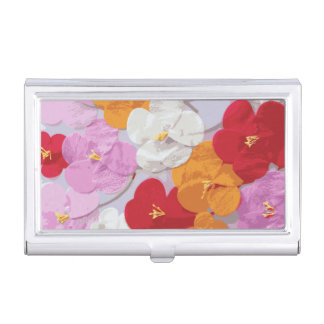 Impression florale rouge-rose de jaune orange de porte-cartes de visite