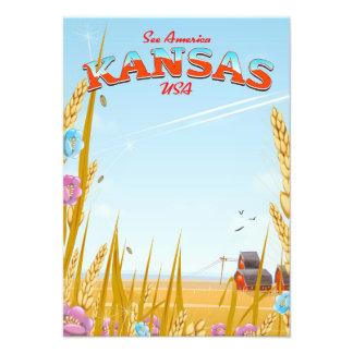 Impression Photo Affiche de voyage de ferme du Kansas Etats-Unis