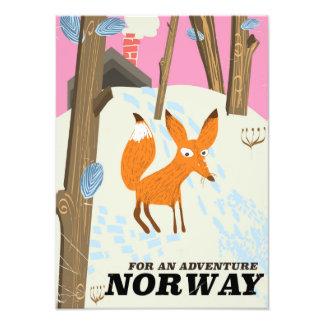 Impression Photo Affiche vintage de voyage de renard de la Norvège