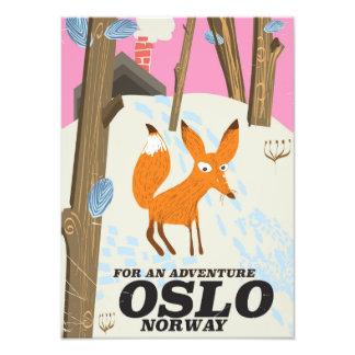 Impression Photo Affiche vintage de voyage de renard d'Oslo Norvège