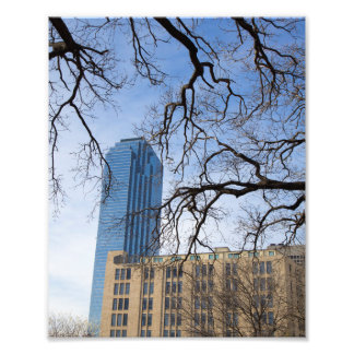 Impression Photo Arbre et édifice haut, Dallas, le Texas