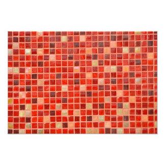 Impression Photo Arrière - plan rouge de tuile de mosaïque