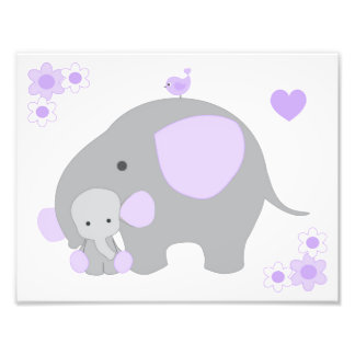 Impression Photo Art gris pourpre de mur de bébé de crèche