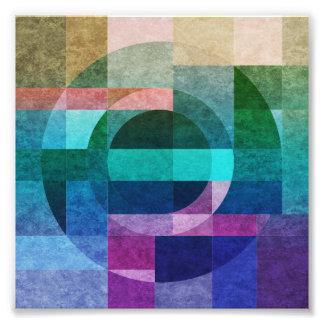 Impression Photo Cercle coloré abstrait géométrique texturisé
