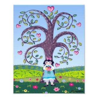 Impression Photo Coeurs et fille d'art populaire de fleurs