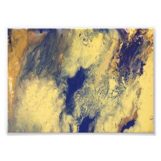 Impression Photo Copie de marbre bleue et jaune
