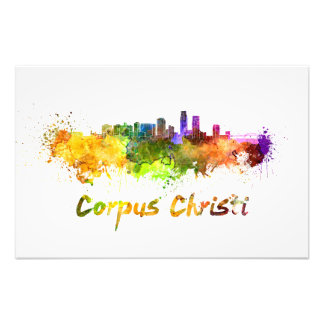 Impression Photo Corpus Christi skyline in watercolor