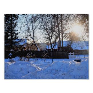 Impression Photo Coucher du soleil à la ferme