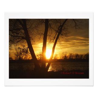 Impression Photo Coucher du soleil de silhouette du Kansas,
