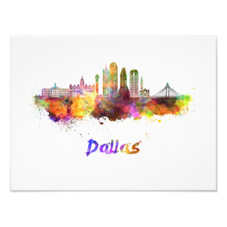 Impression Photo Dallas V2 skyline in watercolor
