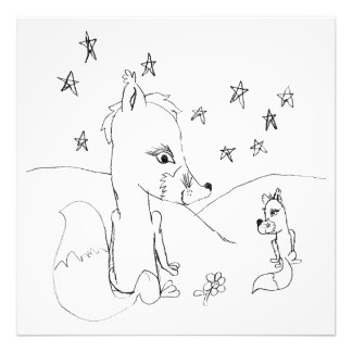 Impression Photo Dessin au crayon de couples d'amour de Fox