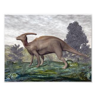 Impression Photo Dinosaure de Parasaurolophus parmi des arbres de