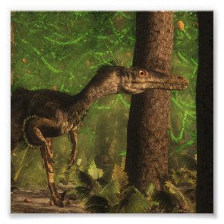 Impression Photo Dinosaure de Velociraptor dans la forêt