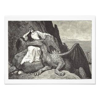 Impression Photo Dragon d'animal familier et la jeune fille