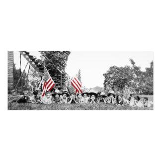 Impression Photo Drapeau américain de femmes patriotes de groupe
