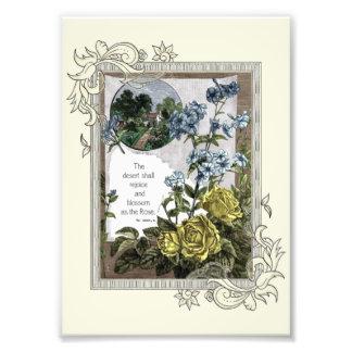 Impression Photo Écriture sainte vintage de bible avec des roses