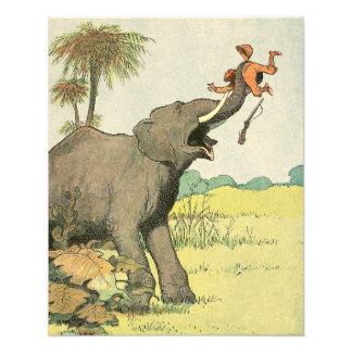 Impression Photo Éléphant et braconnier dans la jungle illustrée
