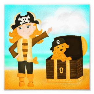 Impression Photo Fille de pirate et son chiot d'or de trésor
